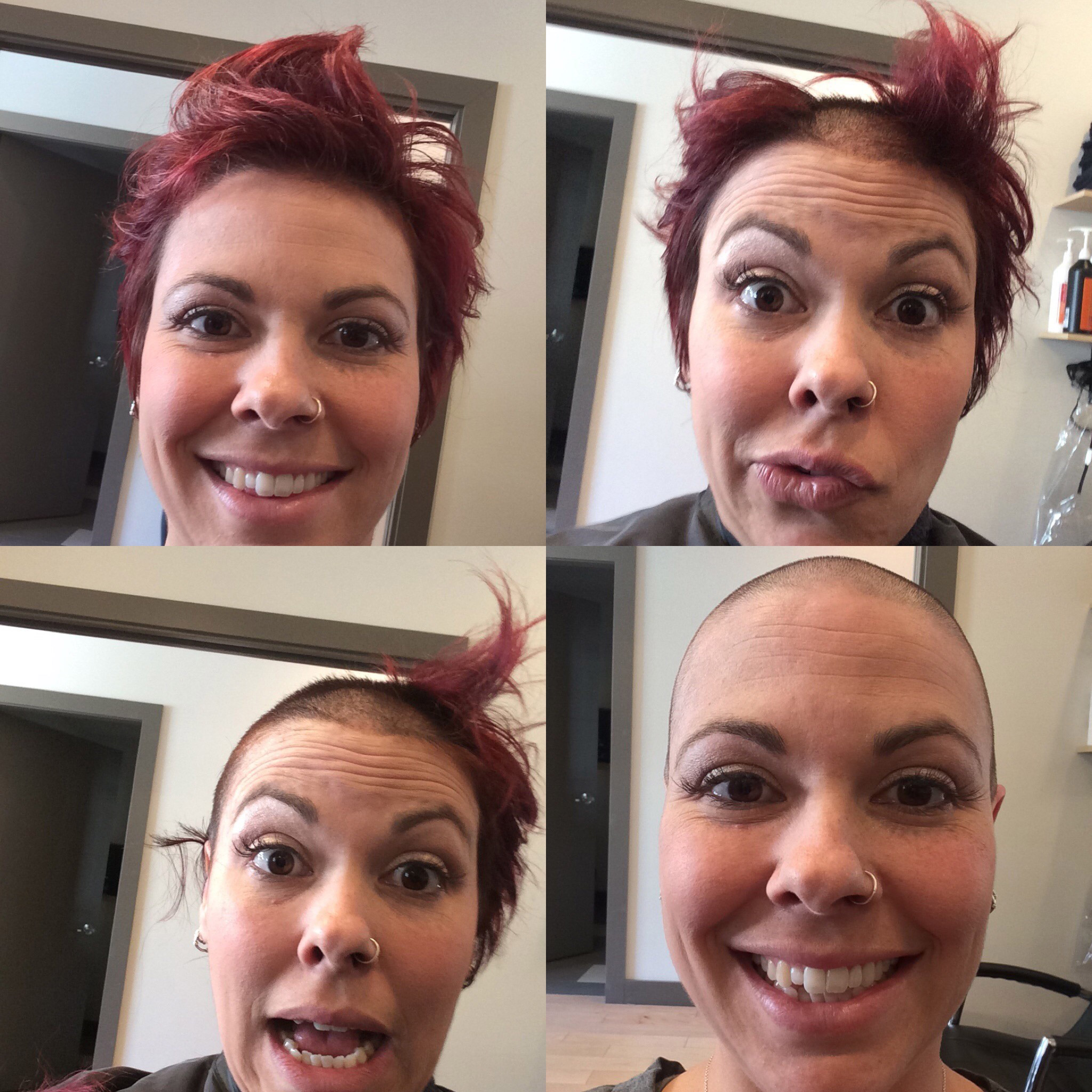 A collage of four pictures shows Stephanie's hair shaving journey from full hair to completely bald