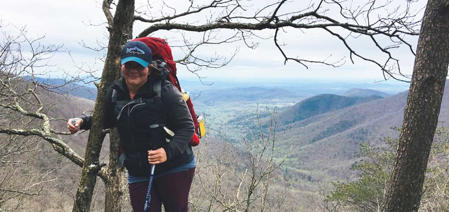 Leslie hiking the Appalachian Trail
