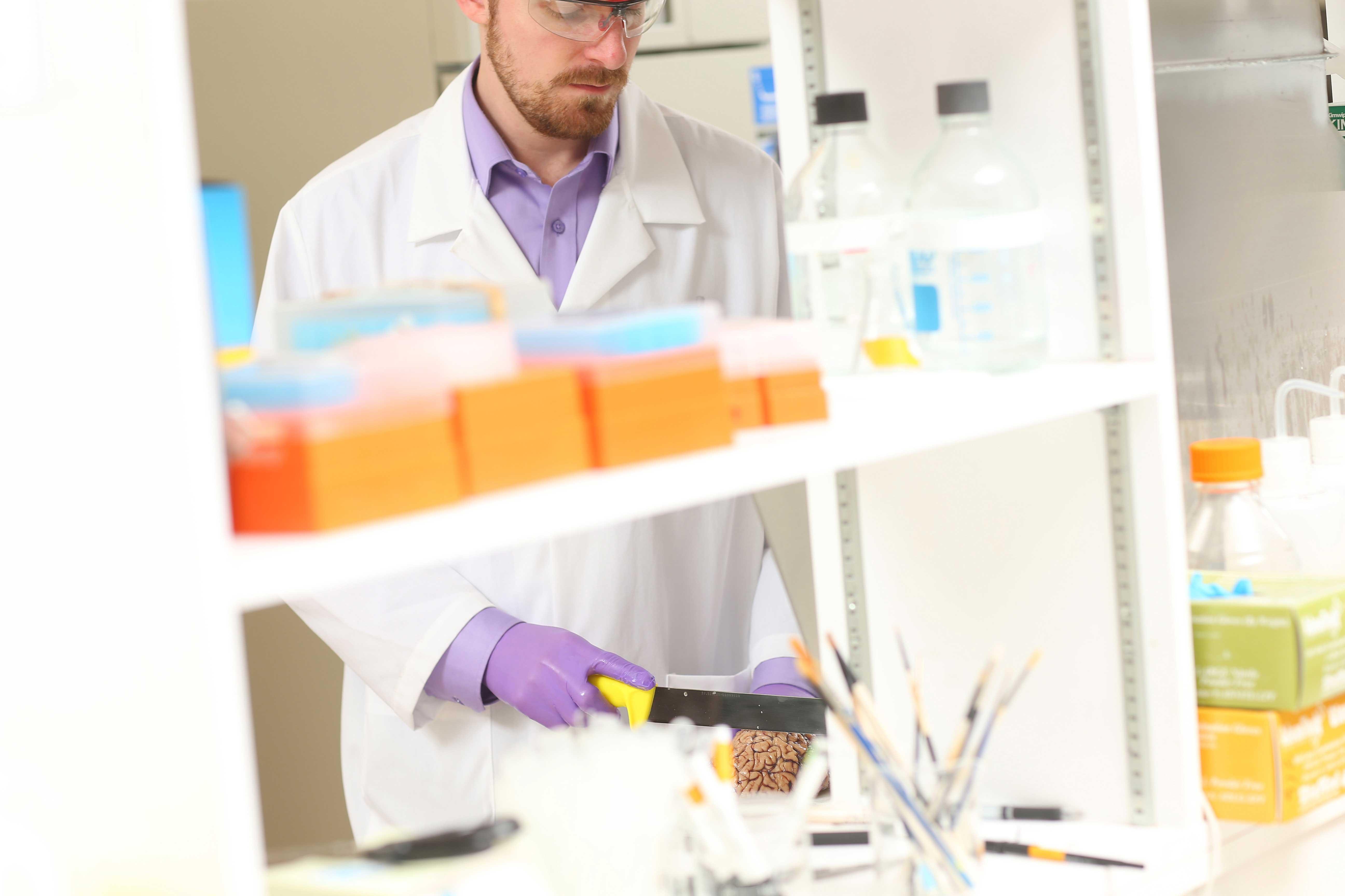 Jordan researching in a lab