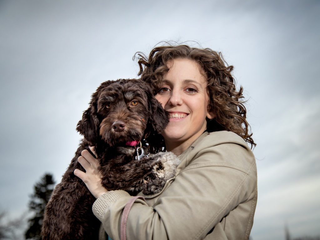 Jessica Faulds and her MS service dog Nutella.