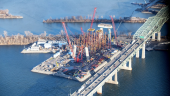 New Montreal bridge under construction in late 2016. Image via 'Signature on the Saint Lawrence'