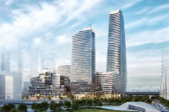 The Hariri Pontarini concept plan for Lakeside Residences. Image via Greenland Group.