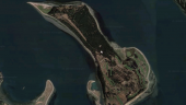Aerial view of James Island. Satellite image via Google Maps