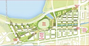 The IllumiNATION LeBreton proposal tendered by RendezVous LeBreton Group includes a new Ottawa Central Library, to be built at the corner of Albert and Booth Streets; a 18,000-seat capacity Major Event Centre (MEC); and residential development on either side of the Aqueduct.