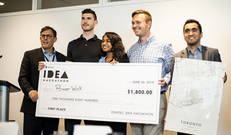 The winning team, PowerWalk, used kinetic floor tiles to capture energy generated through footfall and collect much-needed pedestrian mobility data.