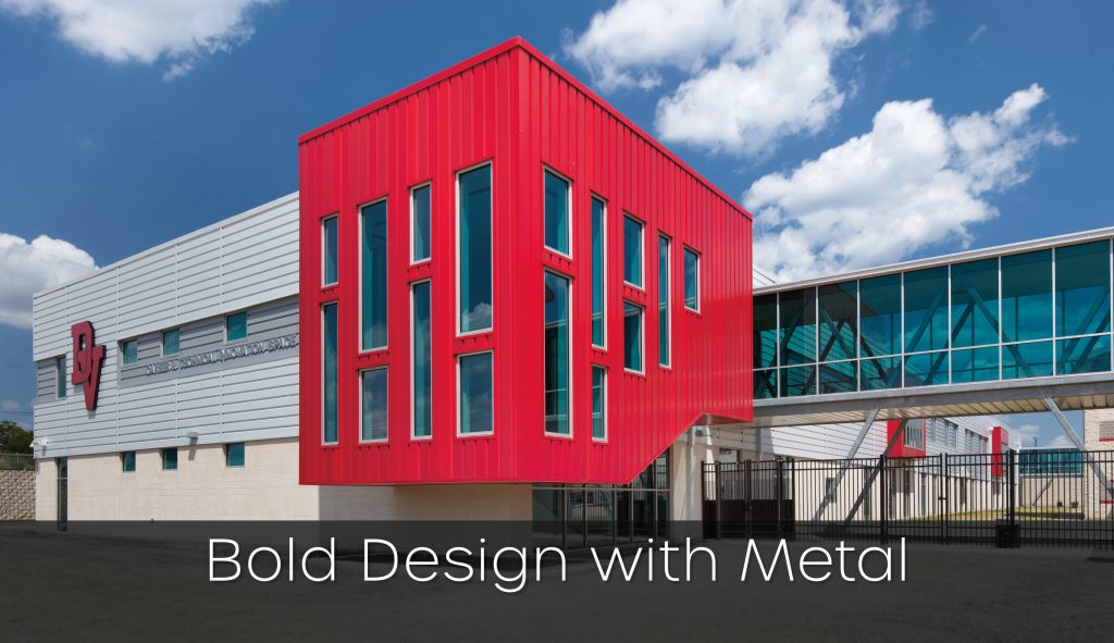 PAC-CLAD Precision Series Highline S1 Metal Wall Panel System in Red, White and Gray