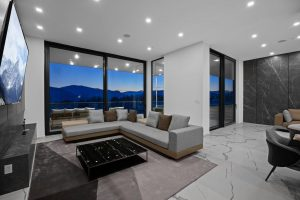 Wall panels decorated with Pietra Grey Marble architectural film