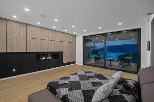 Wall panels covered with wood and black interior film
