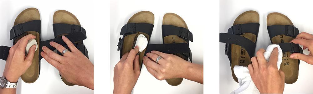 etapes nettoyage entretien sandale