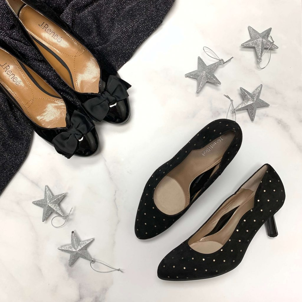 Chaussures J. Reneé Cameo noires et chaussures en cuir Beautifeel Marcelle noires pour femmes