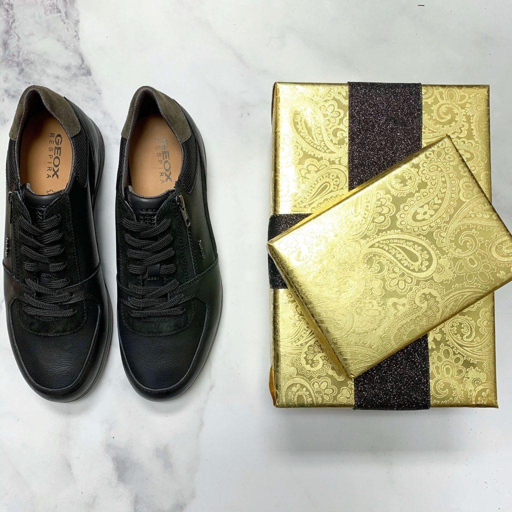 Chaussures en cuir et suède Geox Renand B noires pour hommes