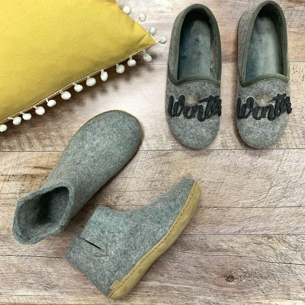 Pantoufles en laine Glerups grises pantoufles en textile Import Bulle pour femmes