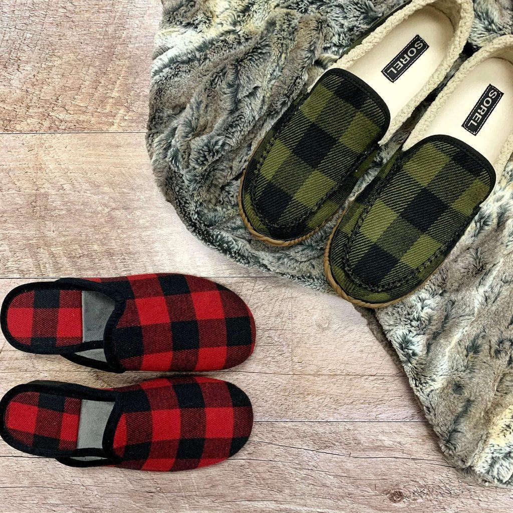 Pantoufles Sorel motifs tartan pantoufles Import Bulle carreautées rouge noir pour hommes