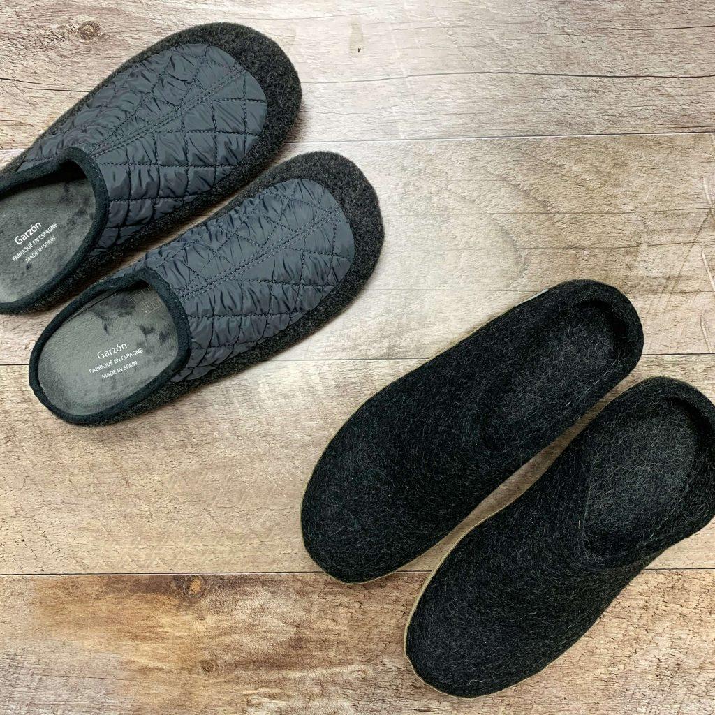 Pantoufle en textile et laine grise pantoufles en laine noires pour hommes