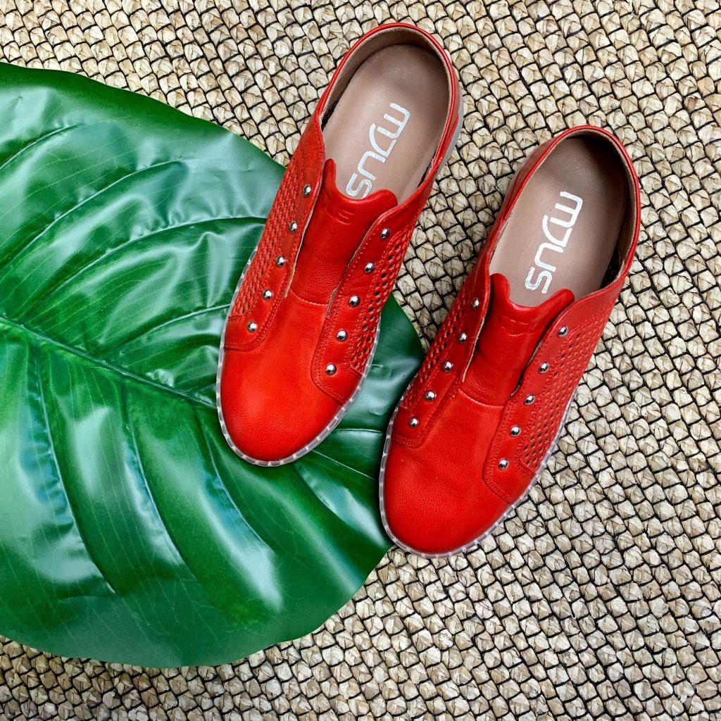 Chaussures Mjus en cuir rouges pour femmes