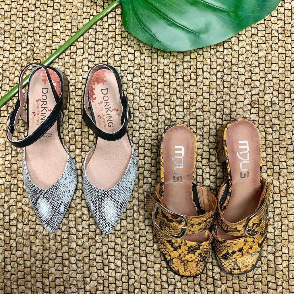 Chaussures Dorking et Mjus à imprimés serpent pour femmes