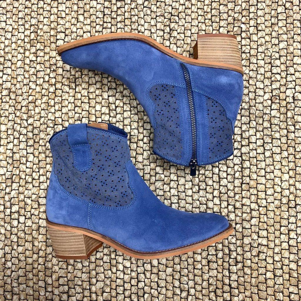 Bottillons en cuir bleus pour femmes