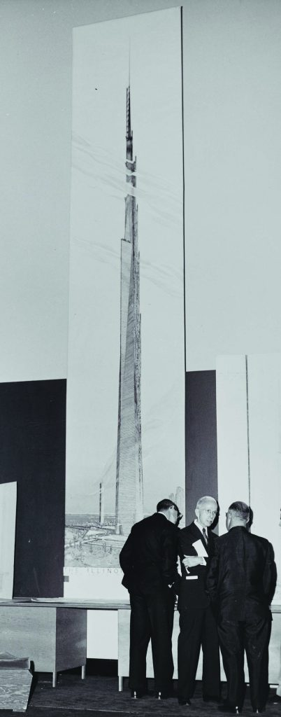 Detail of 1956 press conference unveiling Chicago's proposed Mile-High Tower