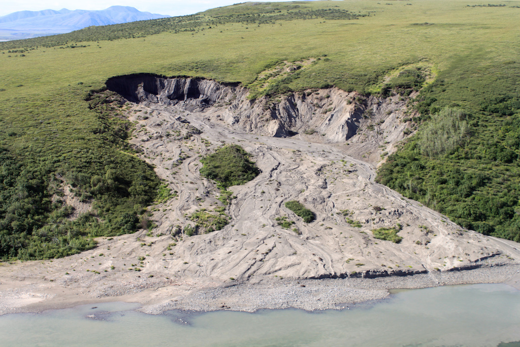 Melting permafrost near the Yukon-Alaska border. Photo via National Parks Service via Wikimedia Commons