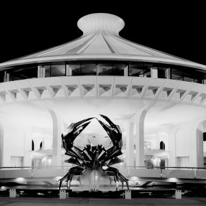 Centennial Museum and H.R. MacMillan Planetarium, Vancouver, 1967-68, by Gerald Hamilton and Associates Architects; with sculpture The Crab, by George Norris