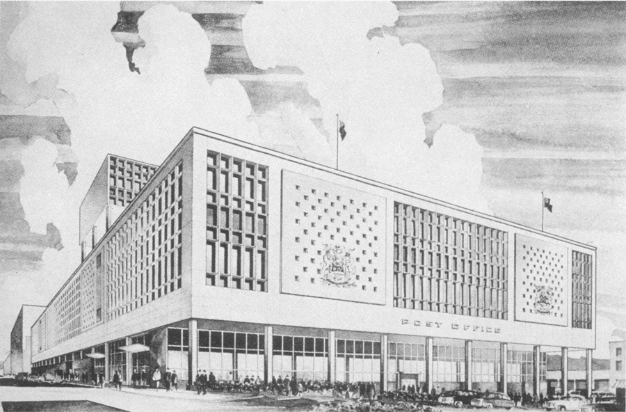 Canada: Modern Architectures in History. McCarter and Nairne rendering of Main Vancouver Post Office, 1953-58.