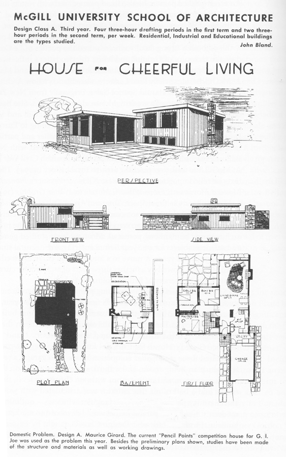 Student project, 1945, in Journal of Royal Architectural Institute of Canada, 1945.
