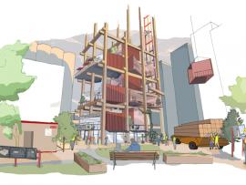 A notional vision of the Sidewalk Labs plan for flexible urban housing. Photo via Sidewalk Labs.