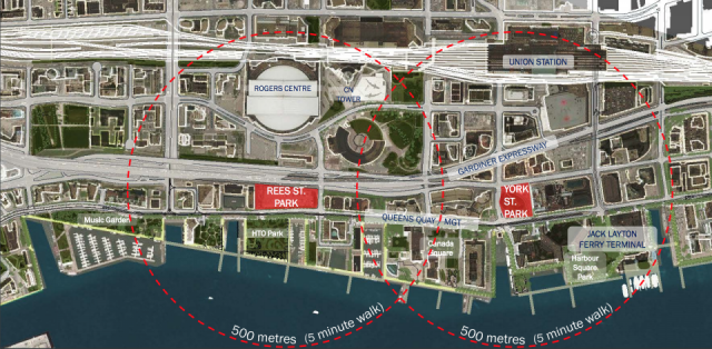 The two new park locations in their urban context. Image via Waterfront Toronto.