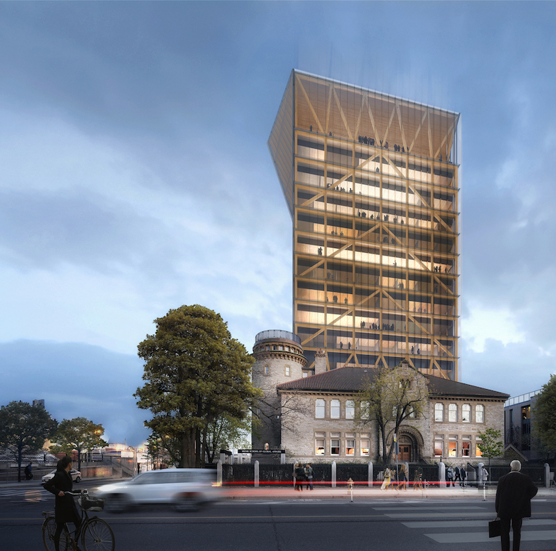 Patkau and MJMA recently unveiled a 14-storey wood tower design above U of T's Goldring Centre. Image courtesy of Patkau Architects.