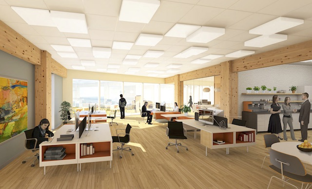 Concept rendering for a wood-dominated office space. Image via CSV Architects / Darryl Hood.