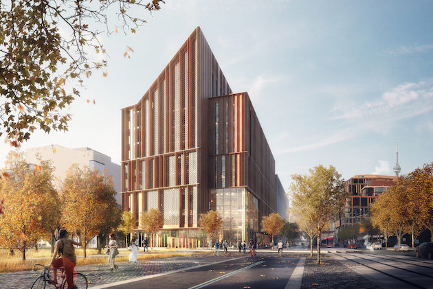 Designed by Moriyama & Teshima + Acton Ostry, 'The Arbour' will be a wood showpiece for George Brown College. Image via GBC