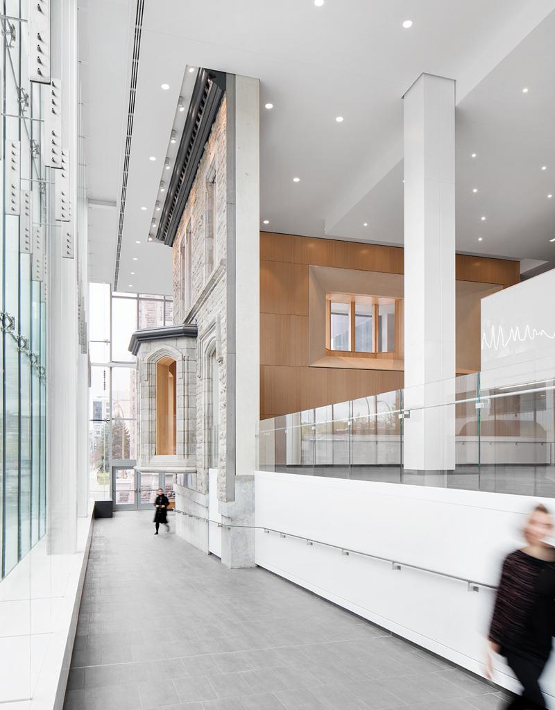 The Maison Garth façade as seen from inside the lobby.