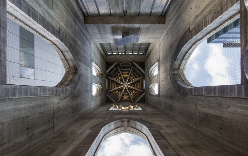 Looking up to the ceiling of reconstructed church spire.