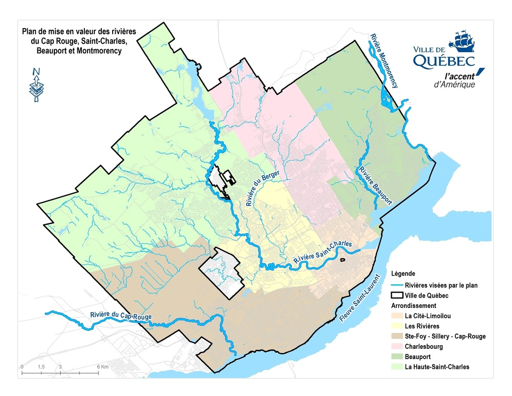 A map of the rivers and urban zones identified in the Quebec City call for tenders. Image via City of Quebec