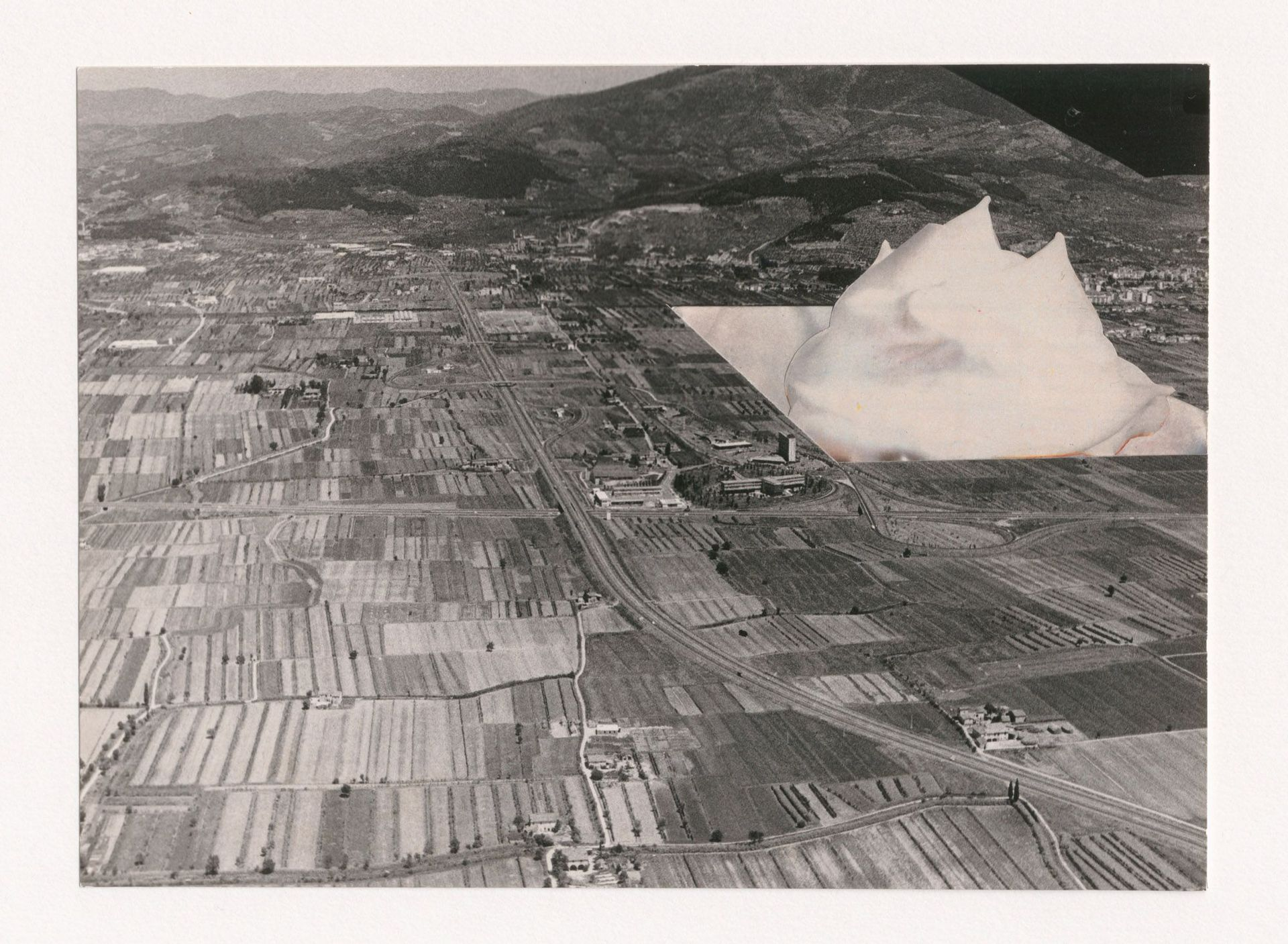 Alessandro Poli. Third of a series of seven photographic collage showing foam monument emerging from a void in the Italian countryside, from the project Breve racconto di Architettura [Brief Tale of Architecture], 1969-1970. Alessandro Poli fonds, CCA. ARCH400052