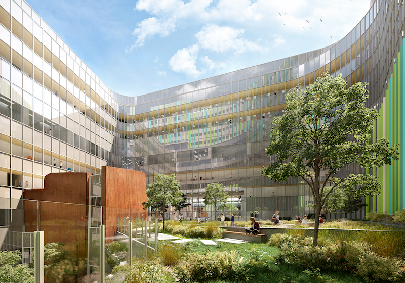 """A sensitive mapping solution centred around the internal """"heart"""" courtyard considers wind flow, sun shadows, and iconic views to ensure patients are guided by and exposed to nature at every step of their journey."""