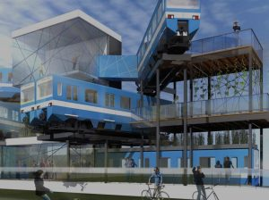 A rendering of Project MR-63, subway cars