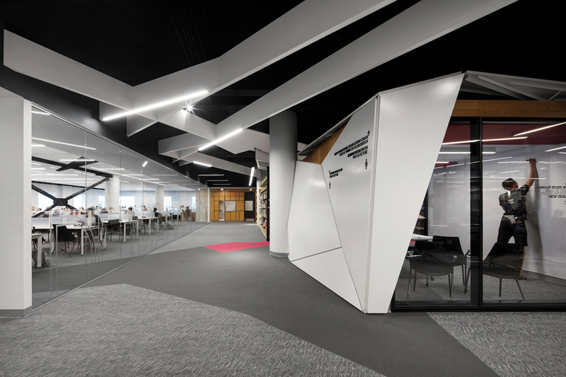 "A  study  ""cube""  on  level  3  is  one  of  a  number  of  rooms  designed  for  collaborative  work."