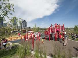 baby, Designed by Stantec, the Crossroads playground in Calgary's East Village is an exemplar of infant- and child-friendly design, with padded terrain and a variety of settings that invite exploration. Courtesy of CMLC.