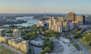 Aerial view of LeBreton Flats site (right foreground) for the library and archives. Photo Norm Li