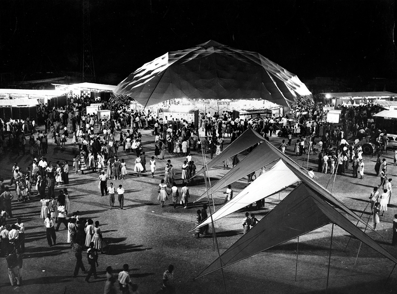 The 1959 Canadian Trade Pavilion in Kingston, Jamaica, was a geodesic structure designed by Jeffrey Lindsay, who founded the Fuller Research Foundation Canadian Division.