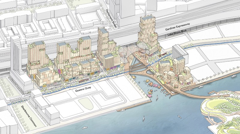 A notional drawing of the timber-frame Quayside community. Image via Sidewalk Labs.