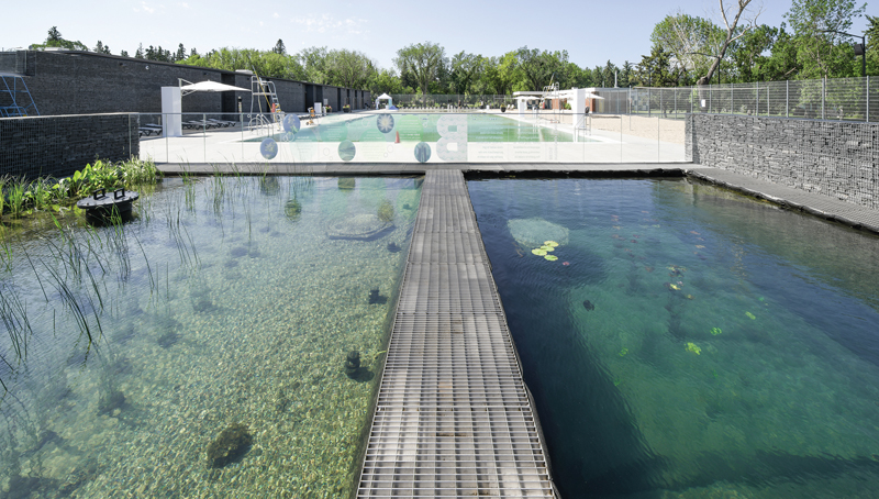 The natural filtration system includes pools stocked with debris-trapping pebbles and microorganism-consuming plants.