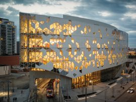 The eye-shaped form of Calgary's new central library derives from the path of the LRT tracks passing under it.