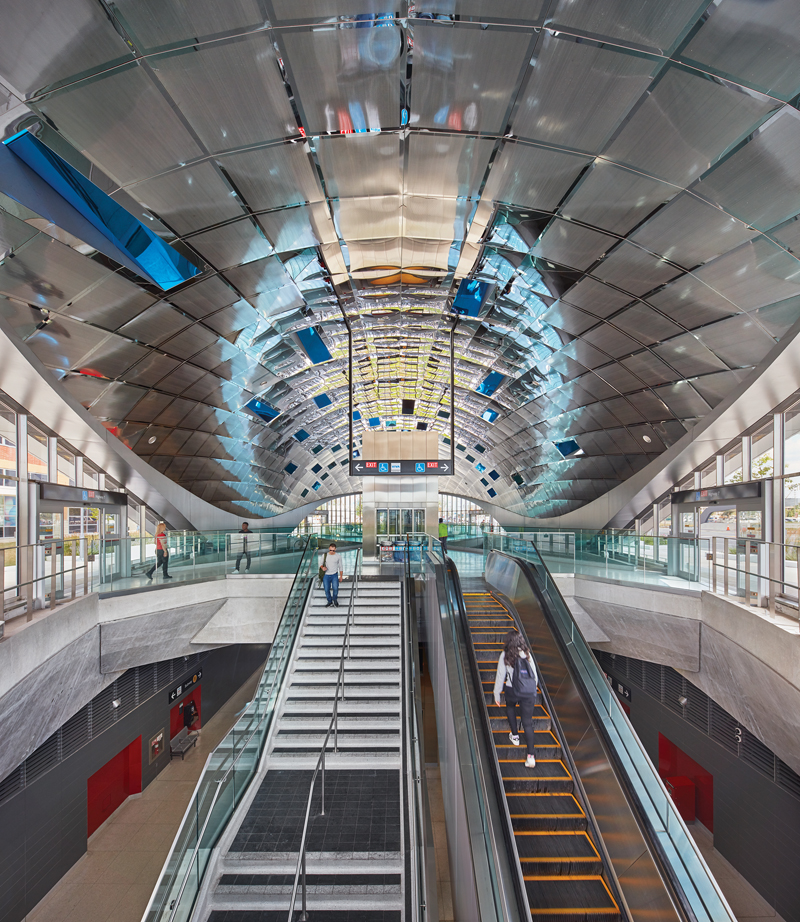he Vaughan Metropolitan Centre station, designed by Grimshaw with Adamson Associates and Arup, includes a mirrored artwork by Paul Raff. Photo by Shai Gil.