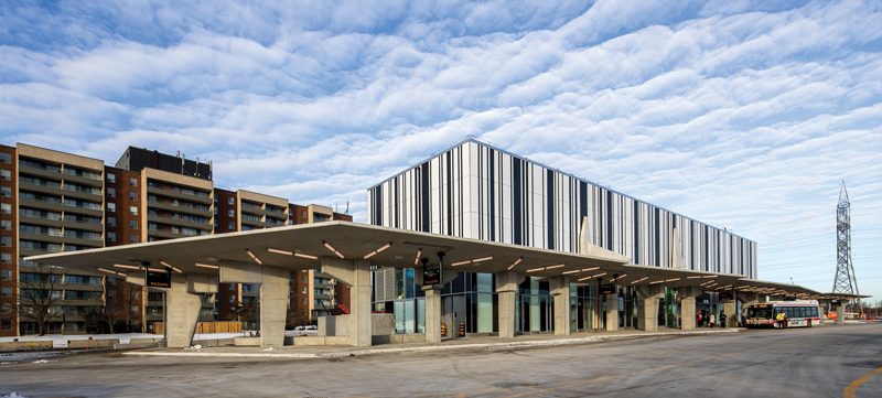 barcode-inspired pattern gives a distinct identity to Finch West Station, designed by aLL with IBI. Photo by Wade Zimmerman.