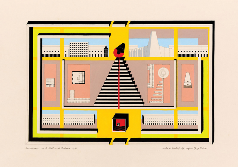 While interning with Aldo Rossi, Jesse Reiser was asked to make this copy of RossiÕs iconic composition with the Modena Cemetery. It was hand-drawn and coloured, working from the film positive for the original blueprint.