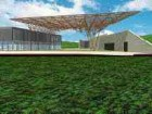 A rendering of the 10,000 square foot timber space frame that will carry Europe's largest solar collector.