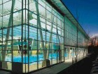 Extensive glazing on the Walnut Grove Aquatic Centre's north faade allows for views into and out of the pool area