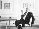 Mies in his apartment, surrounded by his collection of Modern art, Chicago, 1964.